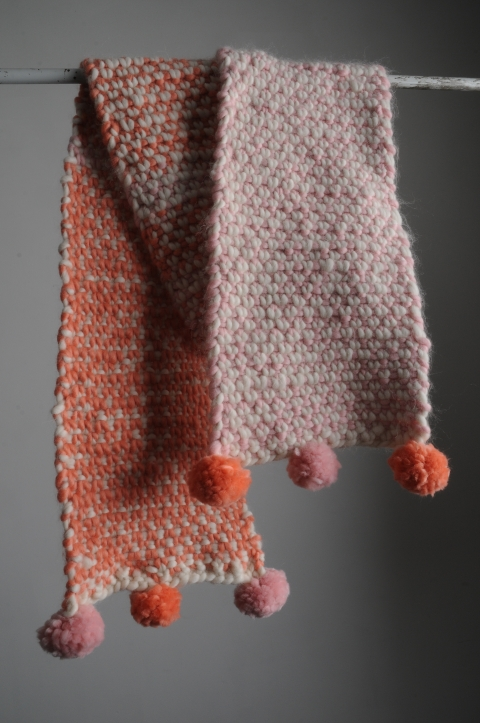 Two Colour Moss Stitch Scarf Mrs Moon
