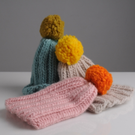 chunky bobble hats by Mrs Moon