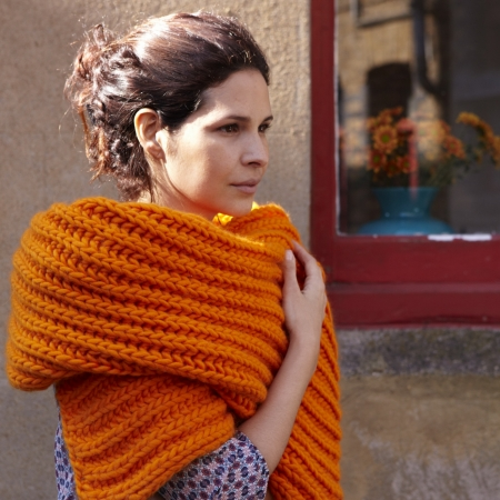 Brioche Stitch Scarf in marmalade from Simple Chic Knits