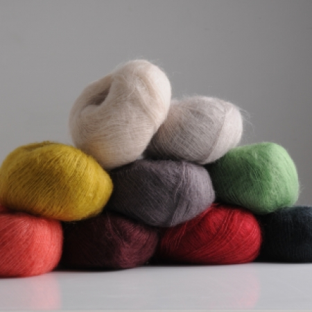 Fluff yarn by Mrs Moon in nine colours