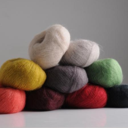 Fluff yarn by Mrs Moon in nine colours