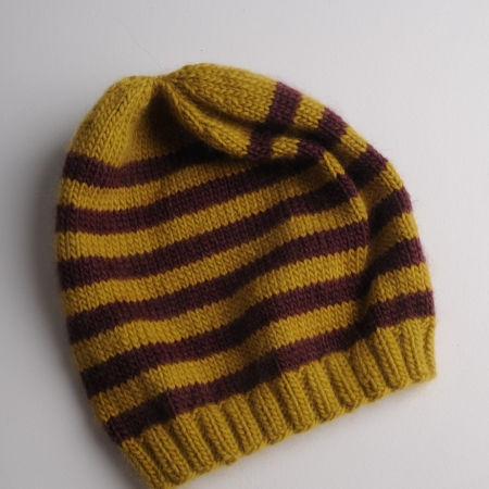 Mrs Moon stripey beanie using Plump dk