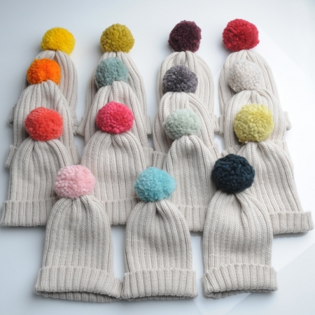 Mrs Moon rib hats with 15 different contrast pom poms